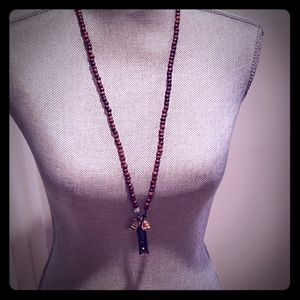 Wooden bead charm necklace
